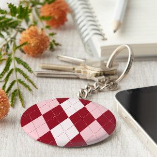 Forma pequena cor-de-rosa carmesim vermelha do chaveiro