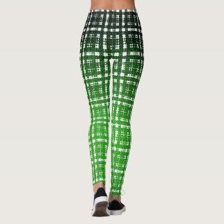 Forma verde do Scifi da xadrez do Cyberpunk Leggings