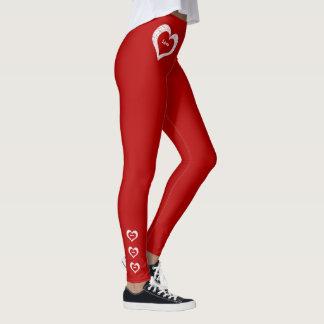 Forma vermelho escuro do dia dos namorados dos leggings