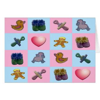 Formas cor-de-rosa do bebê azul cartão comemorativo