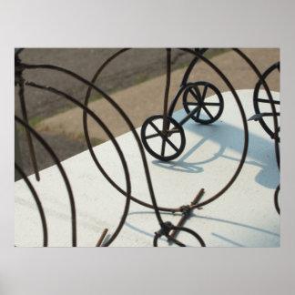 Foto abstrata das bicicletas poster