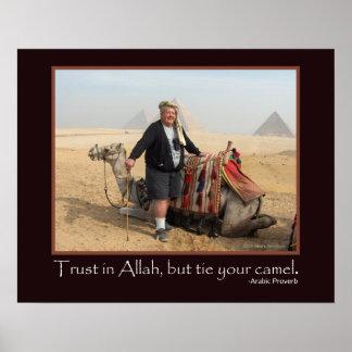 Foto árabe engraçada do camelo das pirâmides de poster