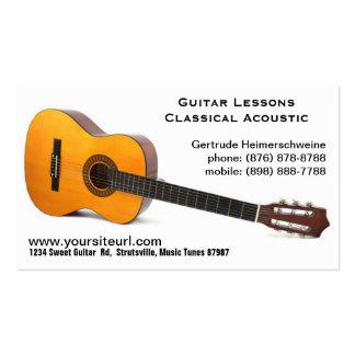 Foto clássica da guitarra acústica - lições de cartão de visita