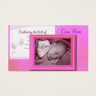 Foto cor-de-rosa do bebé cartão de visitas