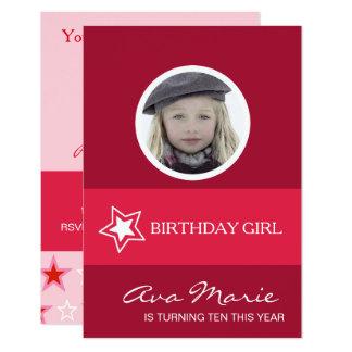 Foto da menina do aniversário da estrela convite 8.89 x 12.7cm