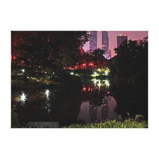 Foto da noite do Central Park Impressão Em Tela Canvas