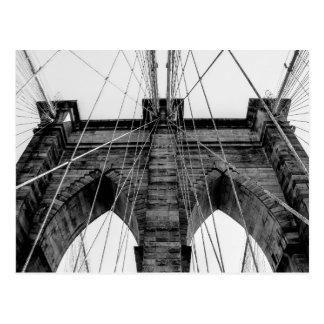 Foto da ponte de Brooklyn em preto e branco Cartão Postal