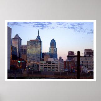 Foto da skyline de Philadelphfia Pôster