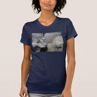 Foto de um gato ao lado da escultura camiseta