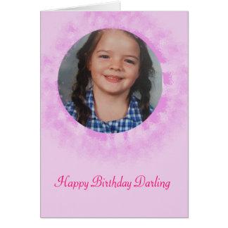 Foto do costume do rosa do feliz aniversario cartão comemorativo