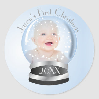 Foto do Natal do bebê do menino azul do globo da Adesivo