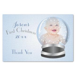 Foto do Natal do bebê do menino azul do globo da Papel De Seda