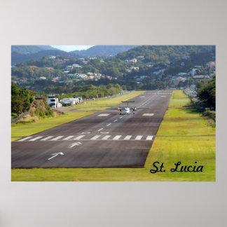 Foto do plano e da pista de aterragem de St Lucia Poster