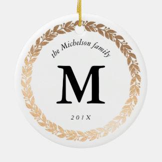 Foto elegante da festão do ouro e branco ornamento de cerâmica redondo