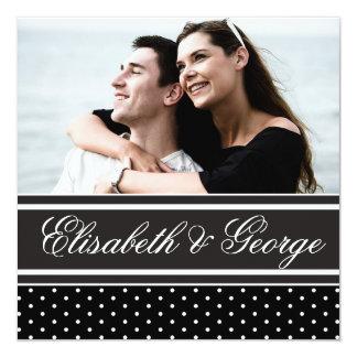 Foto elegante do casamento das bolinhas preto e convite quadrado 13.35 x 13.35cm
