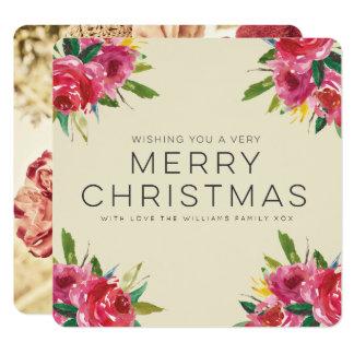 Foto floral do roteiro do Feliz Natal da aguarela Convite Quadrado 13.35 X 13.35cm