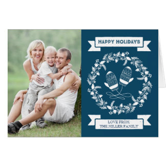 Foto floral dos mitenes da grinalda do feriado dos cartão