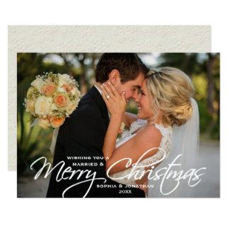 Foto indicada por letras casado & do Feliz Natal Convite 12.7 X 17.78cm
