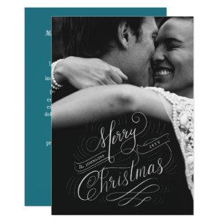 Foto indicada por letras do Feliz Natal da mão Convite 12.7 X 17.78cm