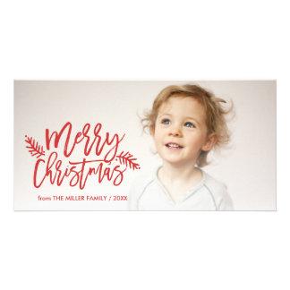 Foto indicada por letras do feriado da mão chique cartão com foto