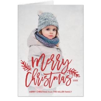 Foto indicada por letras do feriado da mão chique cartão comemorativo