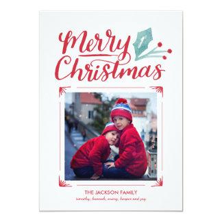 Foto indicada por letras do Natal da mão lunática Convite 12.7 X 17.78cm