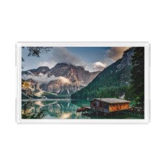 Foto italiana da paisagem do lago mountains bandeja de acrílico