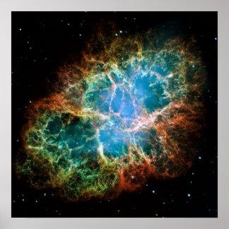 Foto lindo da nebulosa de caranguejo poster