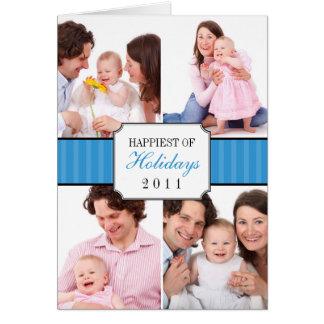 Foto listrada azul do Natal da banda da colagem Cartão Comemorativo