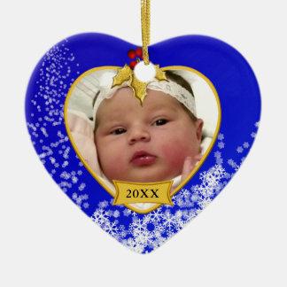 Foto nevado azul do ø Natal do bebê Ornamento De Cerâmica Coração