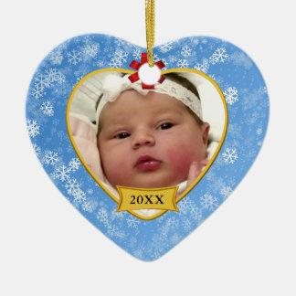 Foto nevado dos azuis bebés do ø Natal do bebê Ornamento De Cerâmica Coração