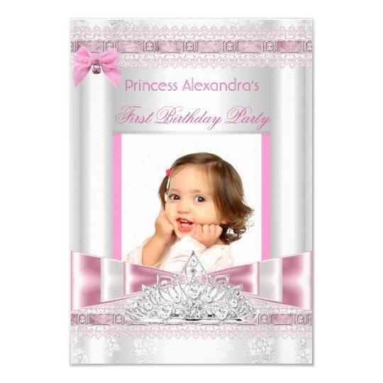 Foto pequena da festa de aniversário da princesa convite 8.89 x 12.7cm