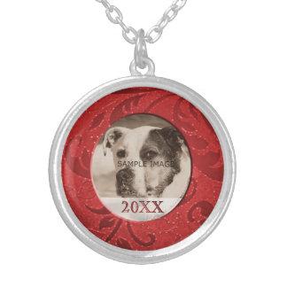 Foto personalizada DIY vermelha do animal de Colar Banhado A Prata