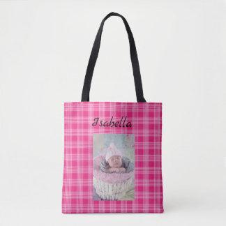 Foto personalizada do bebê e o bolsa cor-de-rosa