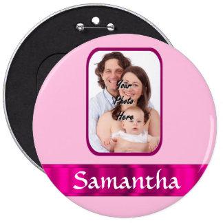 Foto personalizada rosa bóton redondo 15.24cm