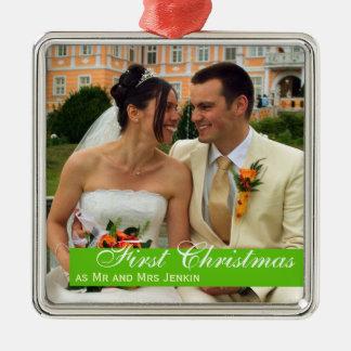 Foto quadrada Natal verde do casal da banda do Ornamento Quadrado Cor Prata