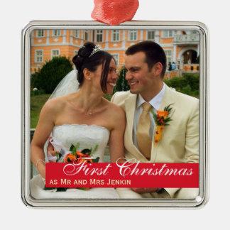 Foto quadrada Natal vermelho do casal da banda do Ornamento Quadrado Cor Prata