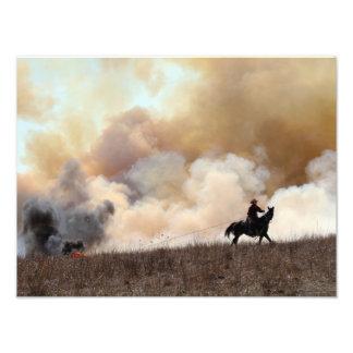Foto Rancheiro de Kansas que começa uma queimadura