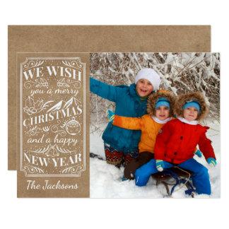 Foto rústica do papel de embalagem do vintage do convite 12.7 x 17.78cm