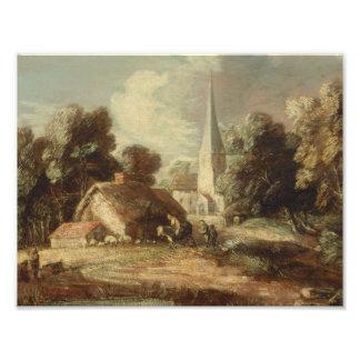 Foto Thomas Gainsborough - paisagem com casa de campo
