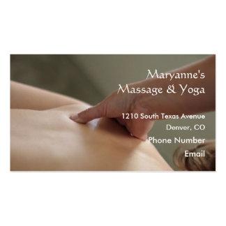 Foto traseira da massagem - polegar cartão de visita