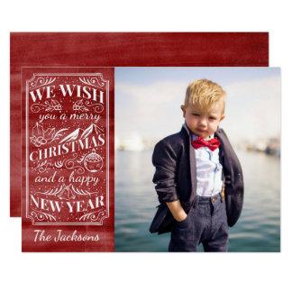 Foto vermelha da aguarela do vintage do Feliz Convite 12.7 X 17.78cm