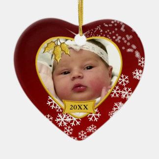 Foto vermelha nevado do ø Natal do bebê Ornamento De Cerâmica Coração