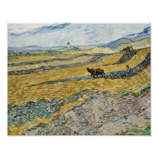 Foto Vincent van Gogh - campo incluido com Ploughman