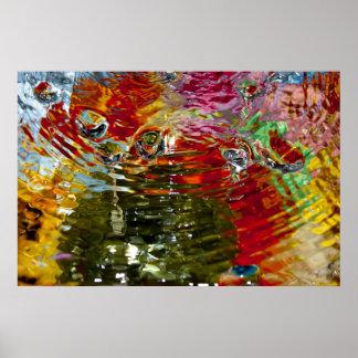 Fotografia abstrata das águas coloridas poster