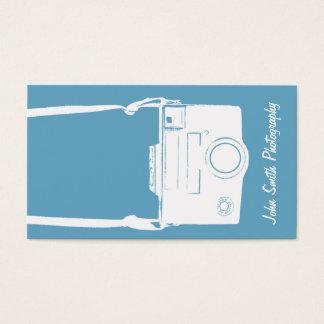 Fotografia azul & branca retro da câmera do filme cartão de visitas