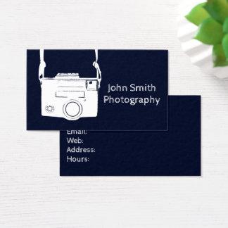 Fotografia azul escuro retro da câmera do filme do cartão de visitas