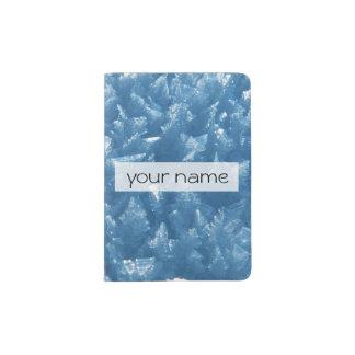 fotografia azul fresca bonita dos cristais de gelo capa para passaporte