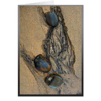 Fotografia contemplativa dos seixos na areia cartão