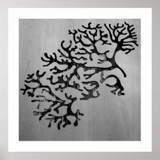 fotografia coral de madeira poster